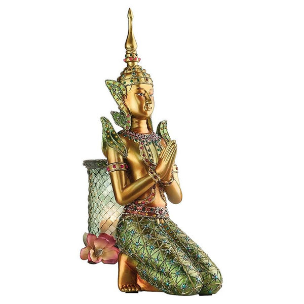 "14""h Ancient Thai Bodhisattva Mediation Statue Sculpture Figurine Gilded Verd..."