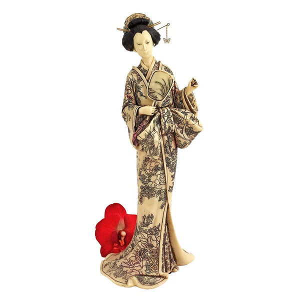 "14.5"" Antique Replica Japanese Collectible White Netsuke Okimono Geisha"