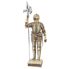 "18""H Knights of the Realm Ivory Statue: Knight with Halberd"