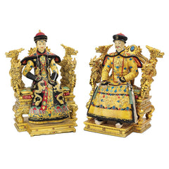 "9.5"" Classic Detailed Royal Chinese Emperor Empress/ King Queen Statue Sculpture"