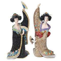 Odoriko Oriental Fan Geisha Asian Statue Sculpture - Set of 2