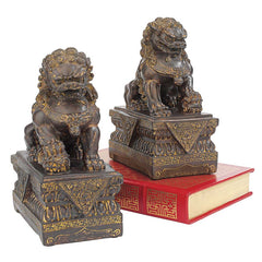 "9""H Tall Chinese Lion Foo Dog Bronze Statue"