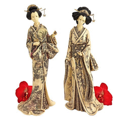 "14.5"" Japanese White Okimono Geisha Collection: Holding Mirror & Holding..."
