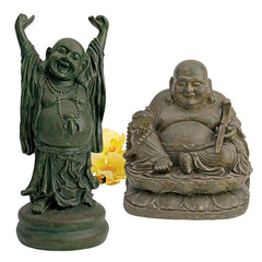 Asian Chinese Jolly Hotel and Laughing Buddha Sanctuary Statue Sculpture - Se...