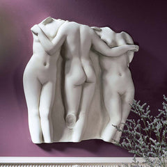 "15"" Hellenistic Masterpiece Paris French Three Nude Graces Wall Fragment Scul..."