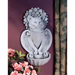 Feline Cat Lover Yoga Meditation Wall Sculpture Statue Figurine