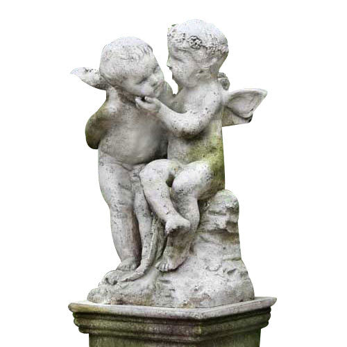 Two Cherubs Playing 21 H Garden Angel Statue