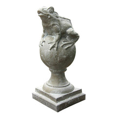 Frog on Finial Garden Animal Statue