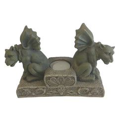 Ezrod Twin Gargoyles Sculpture, Candle Holder