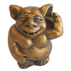 Aggim, the Ear Picking Gargoyle Desktop Sculpture Statue - Bronze Finish