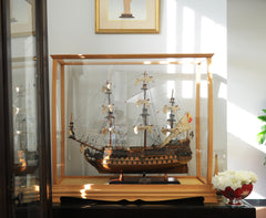 XoticBrands Decor Display Case for Midsize Tall Ship Clear Finish Model Display