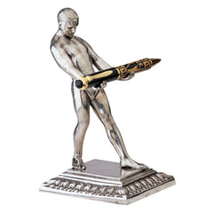 "7"" Italian Luxury Pewter Art Deco Nude Pen Holder Sculpture Statue"