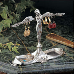 "6"" Art Nouveau Italian Angel Decorative Pewter Jewelry Holder Organizer Stand..."