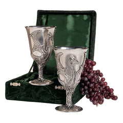 Italian Made Winged Dragon Pewter Goblet - set of 2