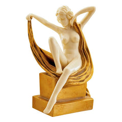 Art Deco Nude French Maiden Desktop Table Statue Sculpture