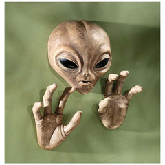 "10"" Extra-terrestrial Outerspace UFO Alien Wall Statue Sculpture Plaque"