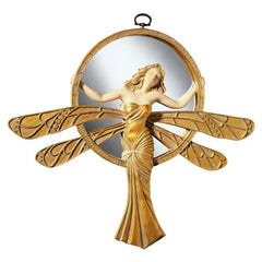 Classic Dragonfly Art Deco Statue Sculpture Wall Mirror Decor
