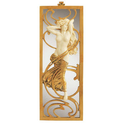 "18.5"" 19th Century Replica Nude Female Statue Sculpture Art Nouveau Mirror Wa..."