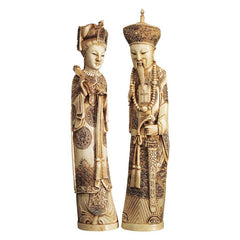 Chinese Asian Emperor and Empress Statue Sculpture Figurine