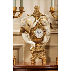 French Baroque Accent Cherubs Baby Angel Sculpture Mantle Clock