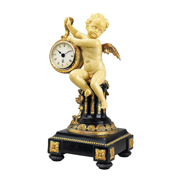 "12.5"" Classic Baby Angel French Chateau Cherub Sculpture Statue Table Clock /..."
