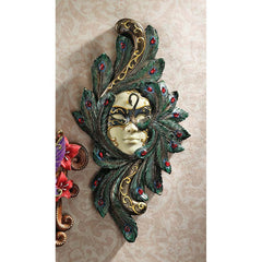 "14"" Masquerade Venetian Carnival Mask Wall Sculpture Mardi Gras Drama and Art..."
