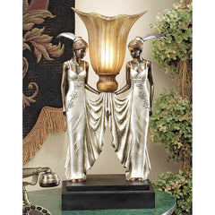 "20"" 20-watt Art Deco Peacock Maidens Illuminated Statue Sculpture Table Lamp"
