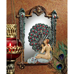 "18"" Classic Nude Peacock Maiden Mirrored Wall Sculpture Decor"