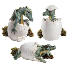 "4"" Desktop Statue Eggs Hatching Dragon Dinosaurs Conversation Starter - Set of 3"