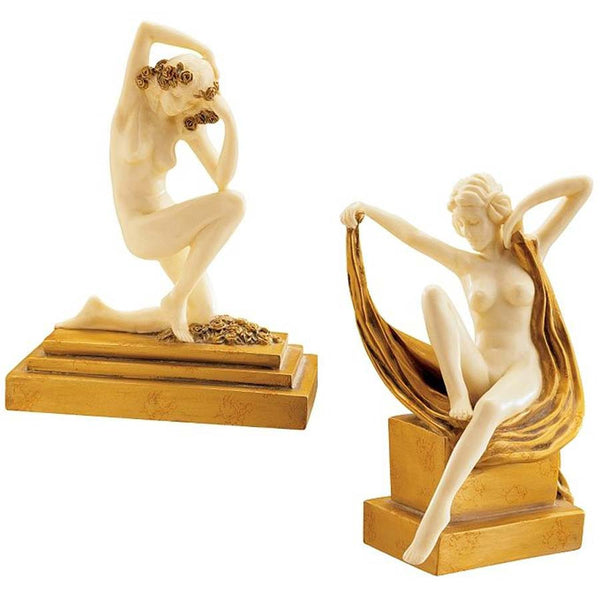 Art Deco Nude French Maidens Collectible Desktop Table Statue Sculpture - Set...