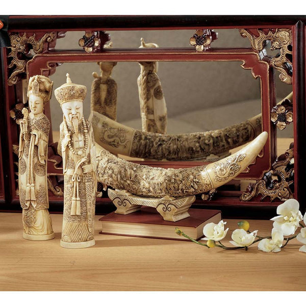 "18"" Chinese Mandarin Elephant Tusk Table Sculpture Statue Set (Elephant, Empe..."