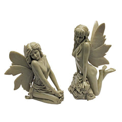 "11"" Nude Twin Garden Desktop Fairies Sculpture"