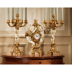 French Baroque Cherubs Mantle Clock and Candelabra Ensemble Candle Holder