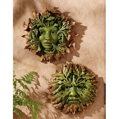 Mystical Greeman Greenwoman Wall Sculpture Statue - Set of 2
