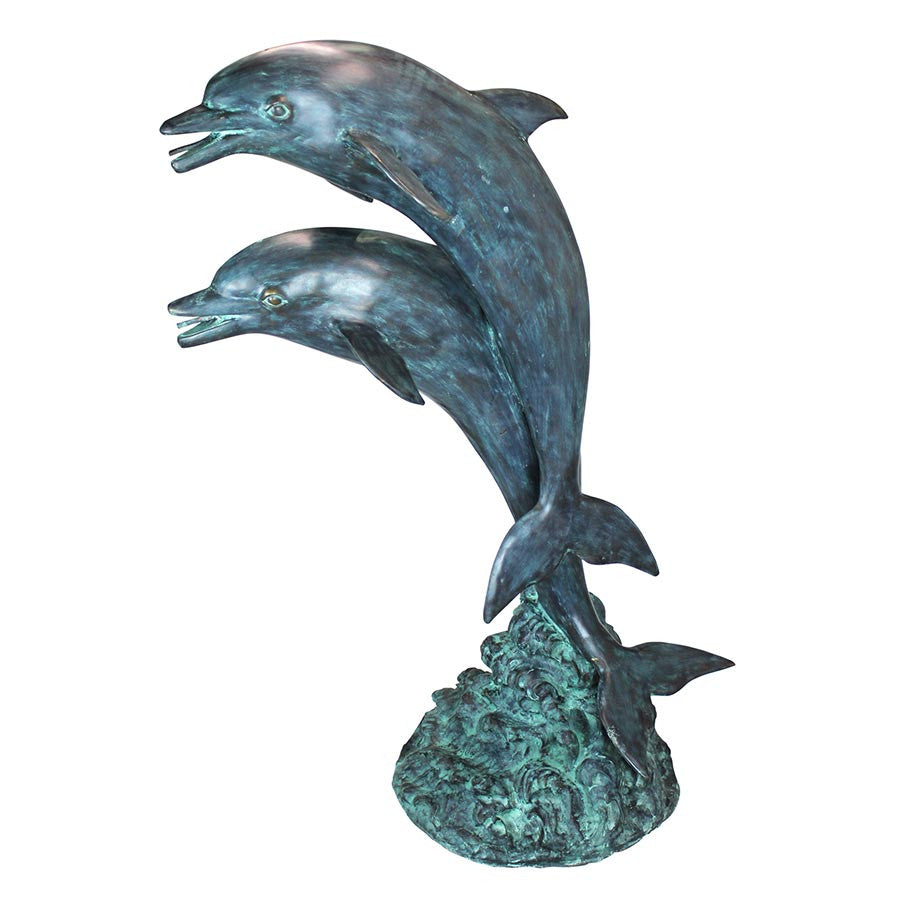 Twin Dolphins In Tandem Bronze Statue