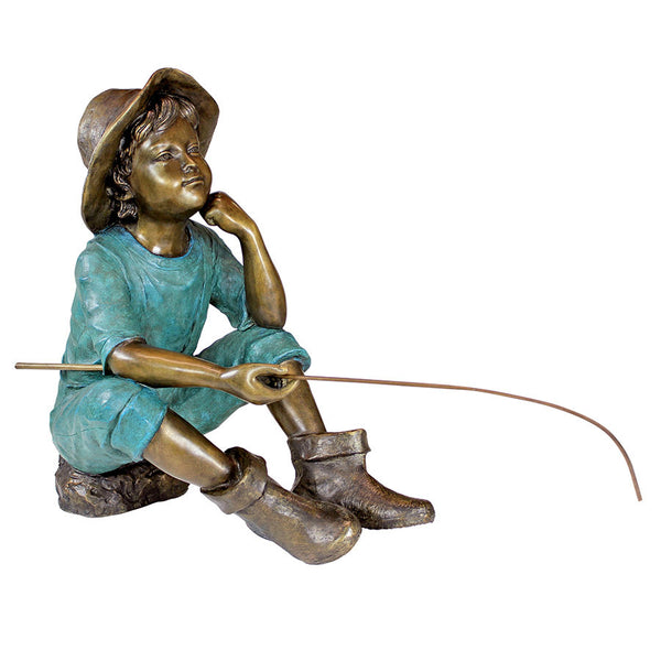 FISH WISH FISHERBOY BRONZE STATUE