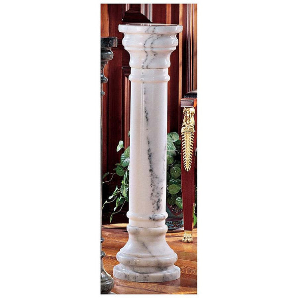 "40"" Large White Solid Marble Column Pedestal Stand"