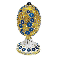 """The Lepridae"" Faberge-Style Enameled Egg: Lapis"