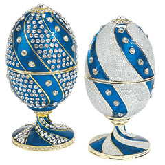 Elegant Count Nikolay Faberge-Style Enameled Egg Collection Set of Two