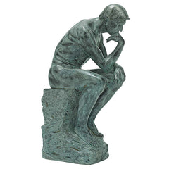 Rodin Thinker Bronze Patina Finish Statue Scultpture