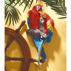 "22"" Red Tropical Macaws Wall Sculpture Statue Figurine"