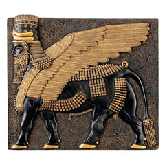 Classic Ancient Egyptian Collectible Assyrian Winged Bull Wall Sculpture Decor