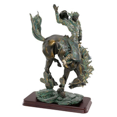 "13.5"" The Outlaw Bronze Cowboy on Horse Wild West Table Desktop Sculpture Sta..."