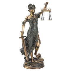 "16""h Greek Goddess of Blindfolded Justice Bronze Statue Sculpture Figurine/At..."