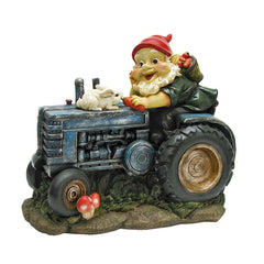 Garden on Tractor Gnome Statue