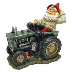 Plowing Vintage Tractor Home Garden Italian Gnome Statue Sculpture