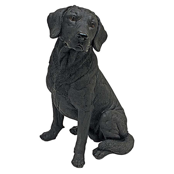 "15½""H Tall Adorable Black Labrador Dog Garden Statue"