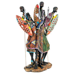 "16"" South African Tribal Zulu Warriors Statue Sculpture Figurine"