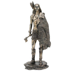 "14"" Classic American Indian Tribal Warrior Hunter Faux Bronze Collectible Scu..."