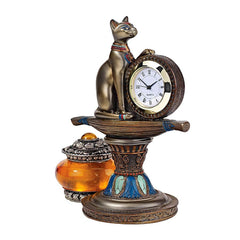 "6"" Classic Ancient Egyptian Sculpture Basset Cat Goddess Statue/table Clock /..."